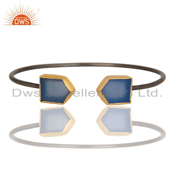Exporter 18K Yellow Gold Plated & Black Oxidized Dyed Chalcedony Brass Cuff Bangle