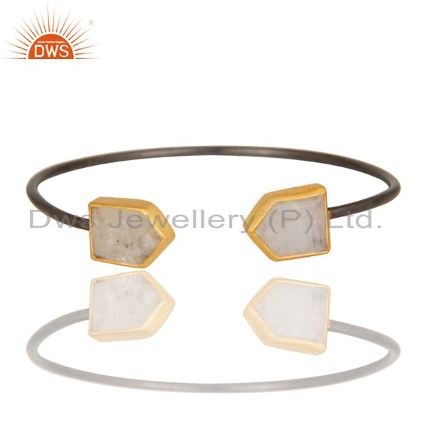 Exporter 18K Gold Plated & Black Oxidized Sterling Silver Rainbow Moonstone Sleek Cuff