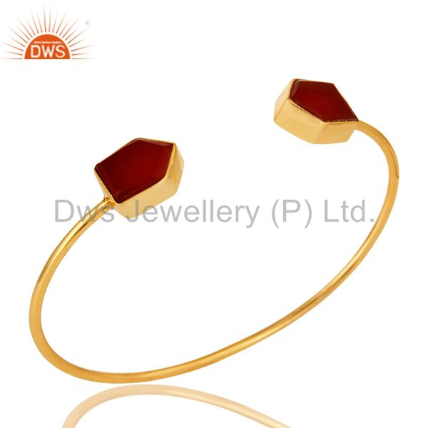 Exporter Handmade Red Onyx Gemstone 22K Yellow Gold Plated Adjustable Bangle