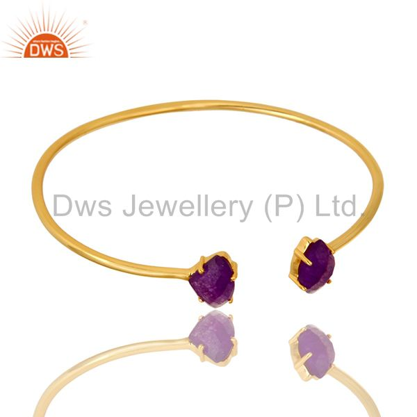 Exporter 14K Yellow Gold Plated Prong Set Purple Chalcedony Open Stack Bangle Bracelet