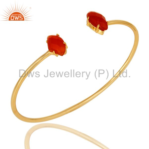 Exporter 18K Yellow Gold Plated Prong Set Red Onyx Gemstone Adjustable Bangle
