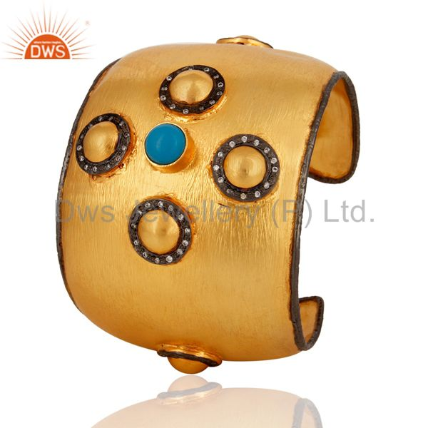 Exporter Handmade 18K Yellow Gold Plated Turquoise Gemstone Women Cuff Bracelets With CZ