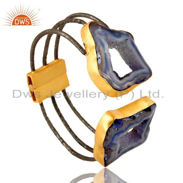 Exporter Natural Blue Druzy Agate Slice Handmade Gold Plated Adjustable Cuff