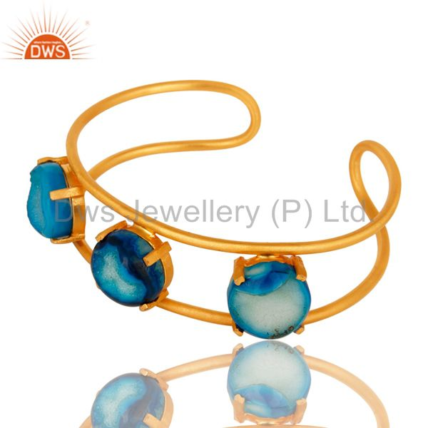 Exporter 18K Yellow Gold Plated Over Brass Blue Agate Druzy Cuff Bracelet Bangle Jewelry