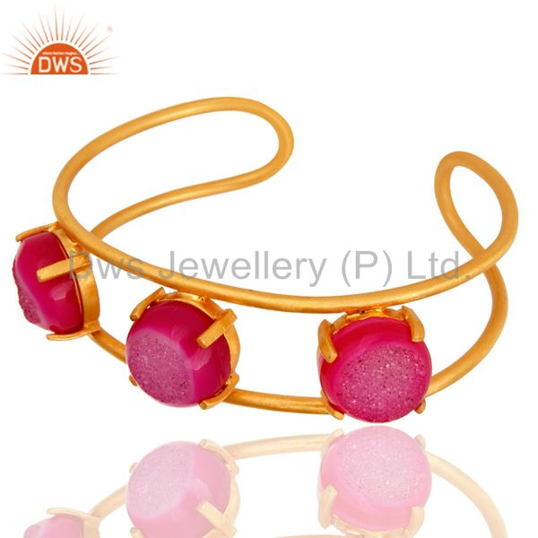 Exporter 18K Yellow Gold Plated Natural Pink Druzy Agate Designer Cuff Bracelet Jewelry