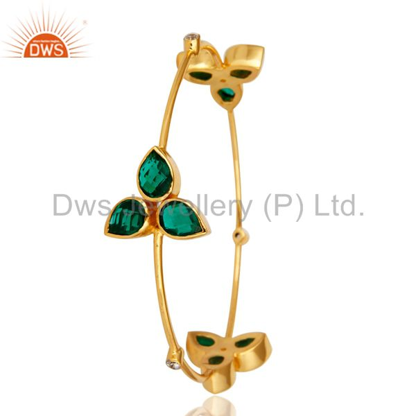 Supplier of Handmade hydro green onyx 14k yellow gold over cz stackable bangle