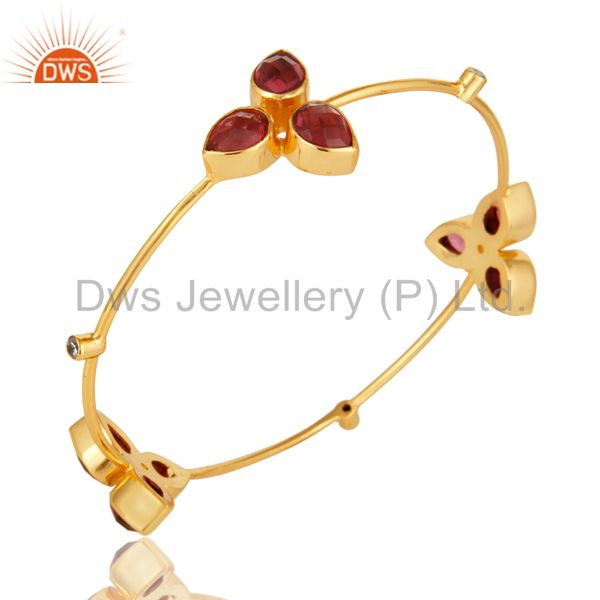 Supplier of 14k yellow gold plated pink glass and cz stacking handmade bangle