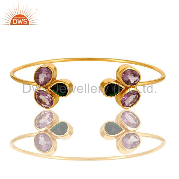 Exporter 18K Yellow Gold Plated Amethyst And Green Onyx Gemstone Open Bangle / Bracelet