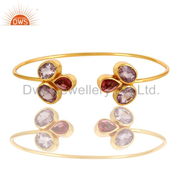 Exporter 18K Yellow Gold Plated Amethyst And Pink Glass Gemstone Adjustable Bangle