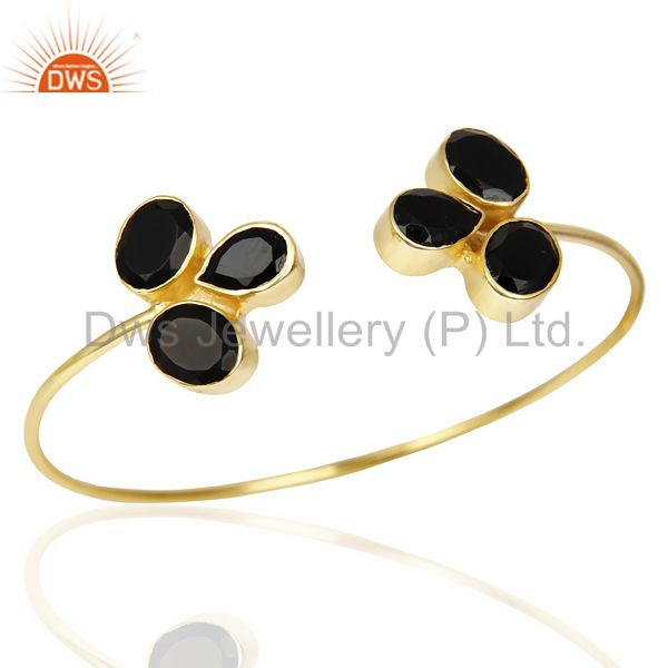 Exporter Black Onyx Sleek 14K Yellow Gold Plated Cuff Bangle Bracelet Brass Jewelry