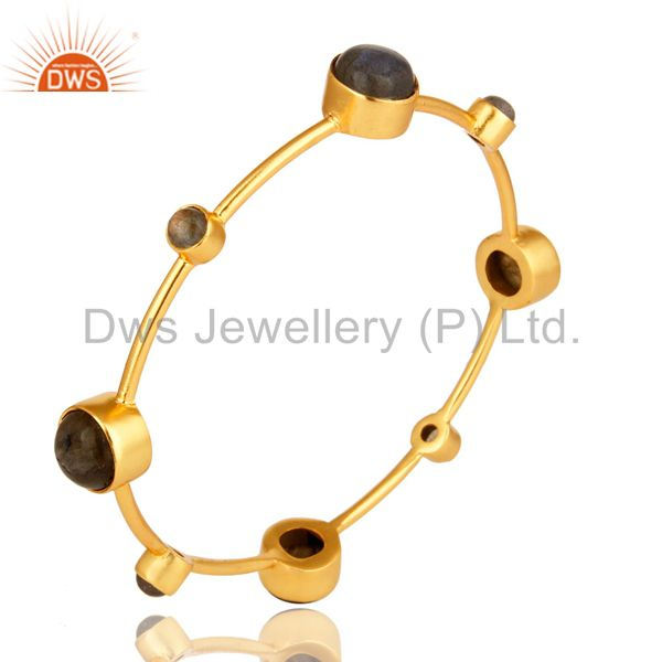 Supplier of Shiny 14k yellow gold handmade labradorite gemstone bangle 2.50 inch