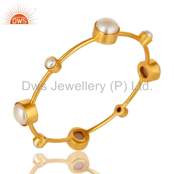 Supplier of 14k yellow gold plated brass natural white pearl handmade bangle