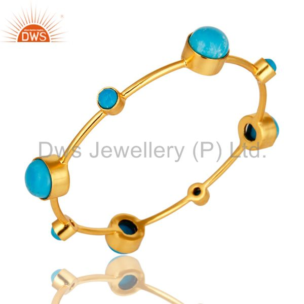 Supplier of 14k yellow gold brass natural turquoise handmade stacking bangle