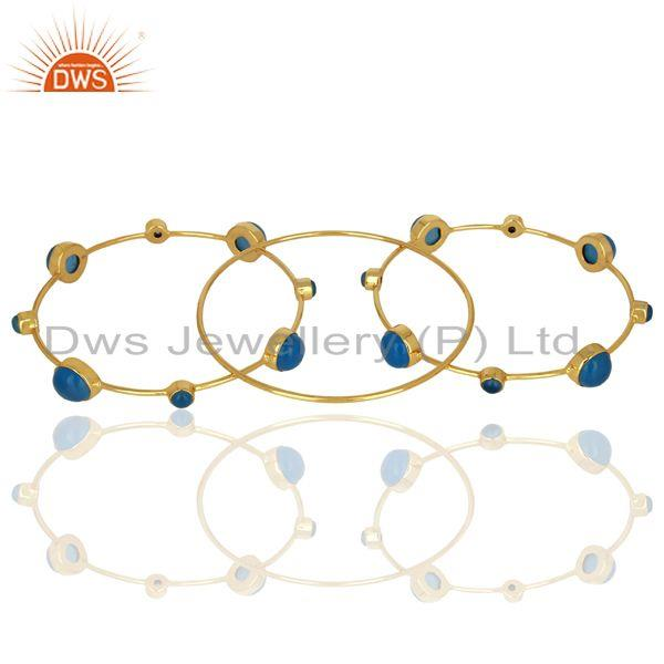 Supplier of Blue chalcedony gemstone 925 silver gold plated bangle set jewelry