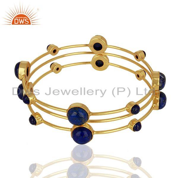Supplier of Natural lapis lazuli gemstone gold plated 925 silver bangle set