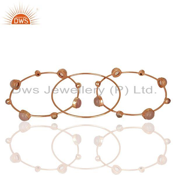 Supplier of Rose gold on 925 silver rose chalcedony gemstone three bangle set