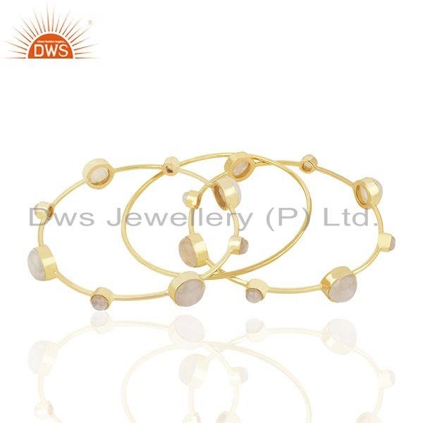 Supplier of Rainbow moonstone gold plated 925 silver three bangle set jewelry