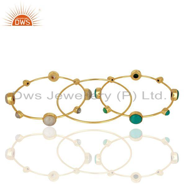 Supplier of Turquoise and moonstone gold plated 925 silver three bangle set