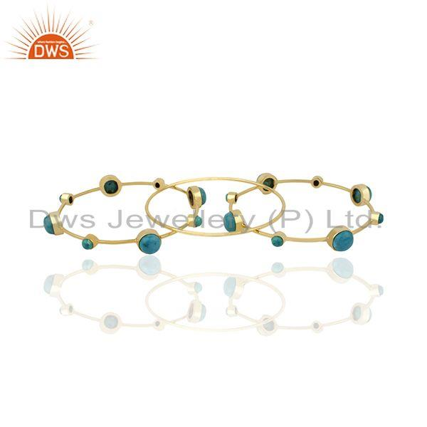 Supplier of Handmade gold plated 925 silver turquoise gemstone three bangle set