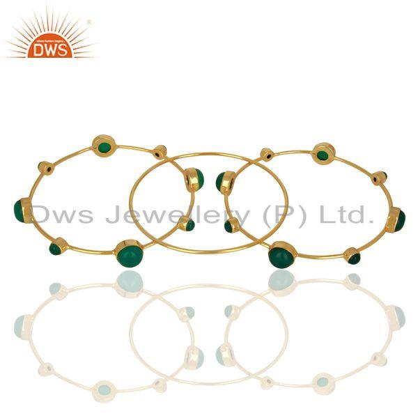 Supplier of Solid 925 silver gold on green onyx gemstone bangle set wholesale
