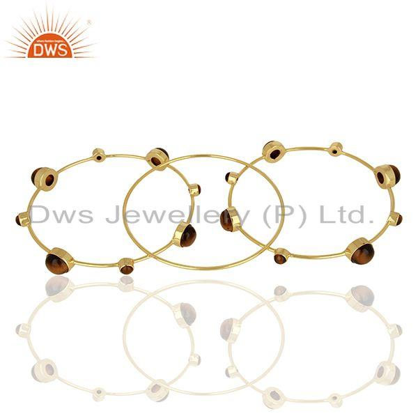 Supplier of Tiger eye gemstone gold plated 925 silver three bangle set supplier
