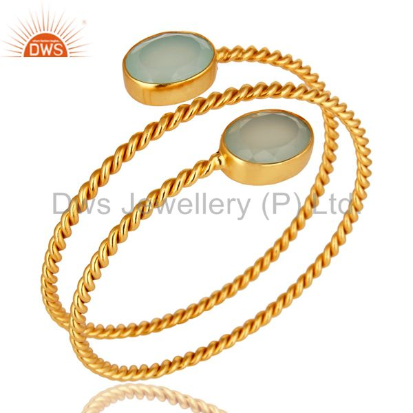 Supplier of Dyed aqua blue chalcedony 14k yellow gold brass adjustable bangle