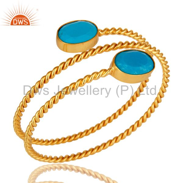 Supplier of 18k yellow gold over turquoise gemstone twisted adjustable bangle