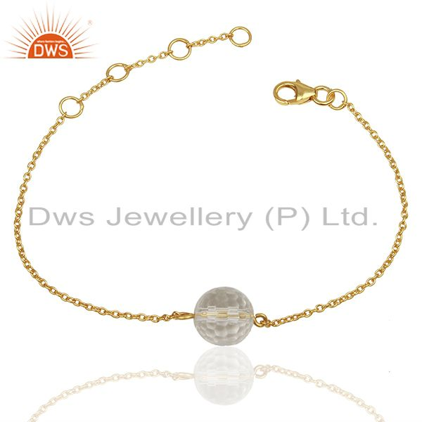 Exporter Crystal Quartz Ball Gold Plated Silver Chain Bracelet Manufacturers
