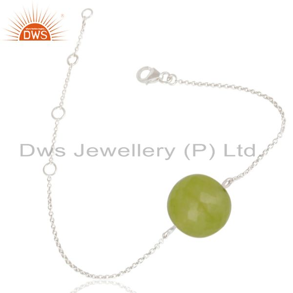 Exporter Solid 925 Sterling Silver Traditional Handmade Dyed Chalcedony Chain Bracelet