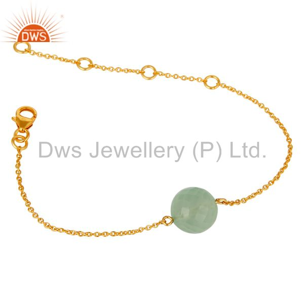 Exporter 18K Yellow Gold Plated Sterling Silver Prehnite Chalcedony Chain Bracelet
