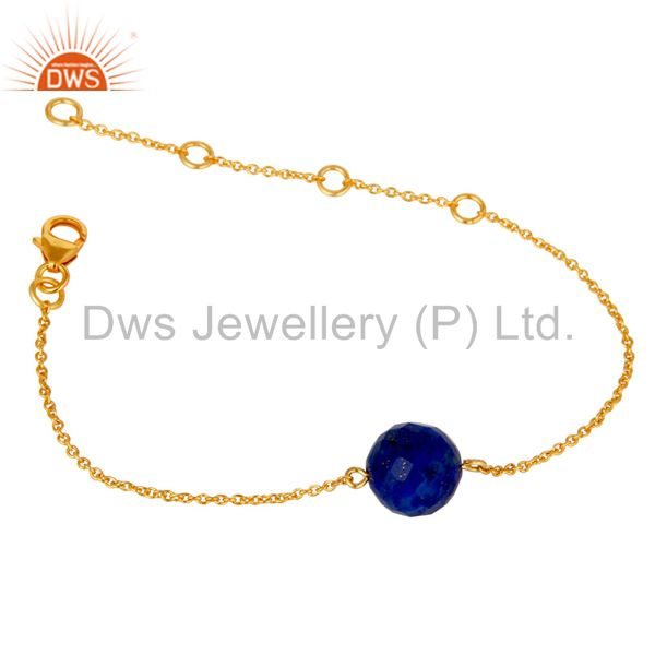Exporter 18K Yellow Gold Plated Sterling Silver Lapis Ball Chain Bracelet