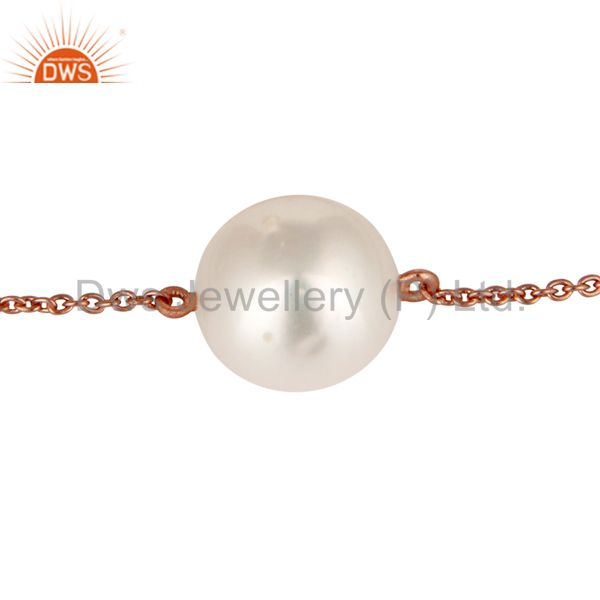 Exporter 18K Rose Gold Plated Sterling Silver White Pearl Cable Link Chain Bracelet