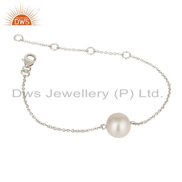 Exporter Handmade Solid 925 Plated Sterling Silver White Pearl Cable Link Chain Bracelet