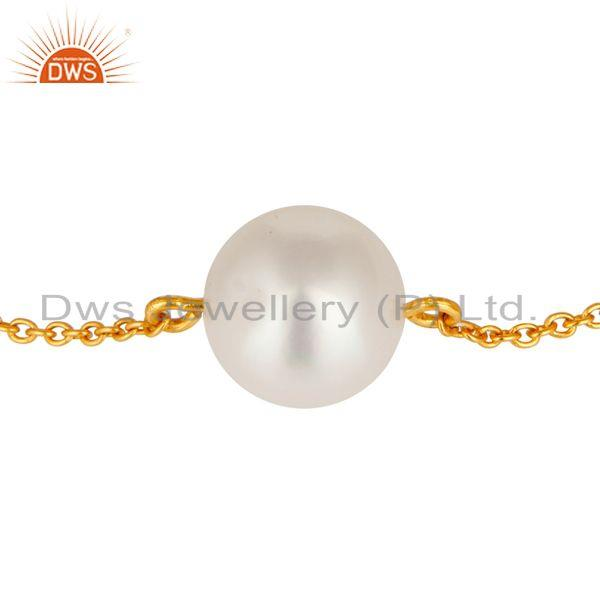 Exporter Natual Genuine Pearl Sleek Gold  Plated Sterling silver Chain Bracelet