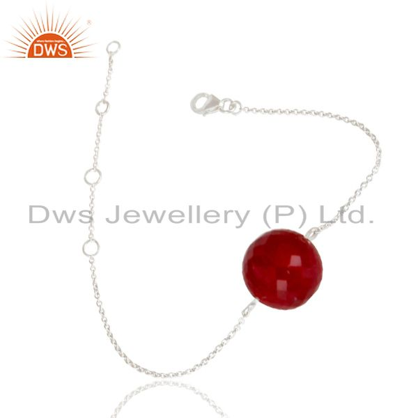 Exporter Solid 925 Sterling Silver Traditional Handmade Natural Ruby Chain Bracelet