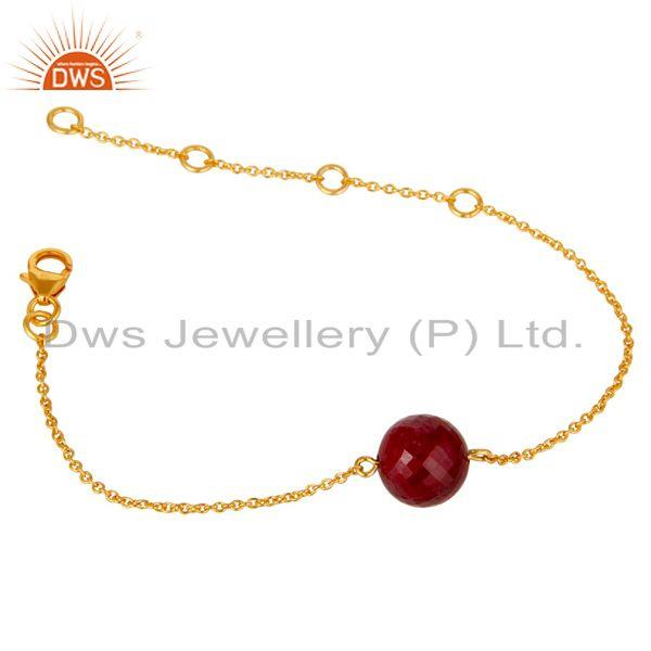 Exporter 18K Yellow Gold Plated Sterling Silver Natural Ruby Chain Bracelet