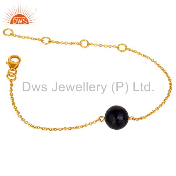 Exporter 18K Yellow Gold Plated Sterling Silver Natural Sapphire Chain Bracelet