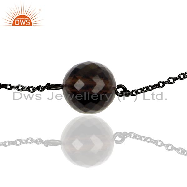 Exporter Smoky Quartz Gemstone Black 925 Silver Unisex Chain Bracelet Wholesale