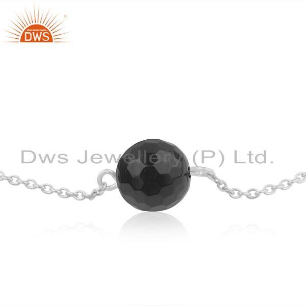 Exporter Natural Black Onyx Gemstone 925 Sterling Fine Silver Chain Bracelet For Girls