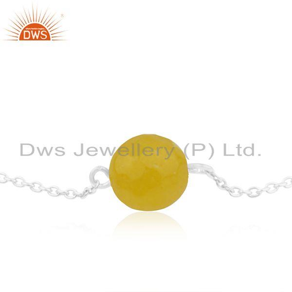 Exporter Designer 925 Sterling Fine Silver Yellow Chalcedony Chain Bracelet Jewelry