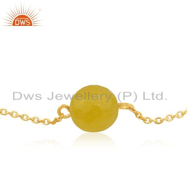 Exporter Yellow Chalcedony Bead Gemstone Gold Plated Silver Chain Bracelet Jewelry