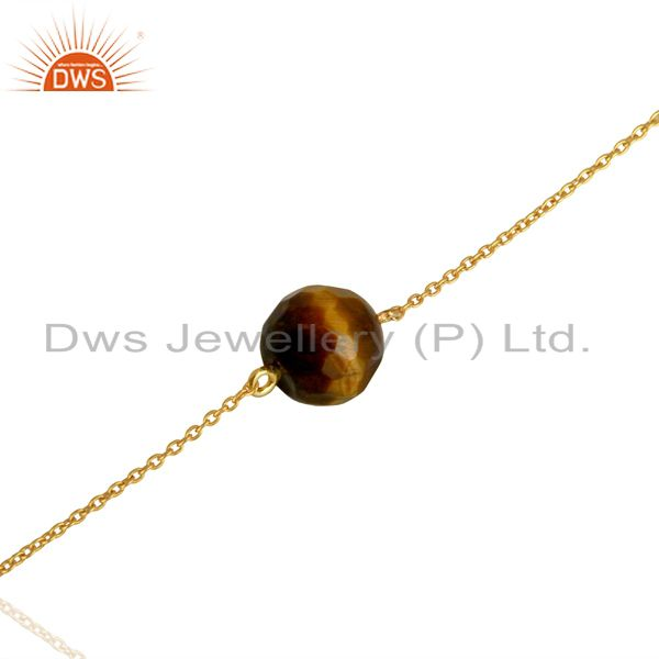 Exporter Gold Plated Silver Natural Tiger Eye Gemstone Chain Bracelet Jewelry