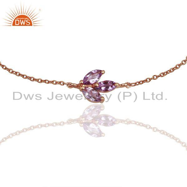 Exporter February Birthstone Amethyst Rose Gold Plated Solid Silver Bracelet