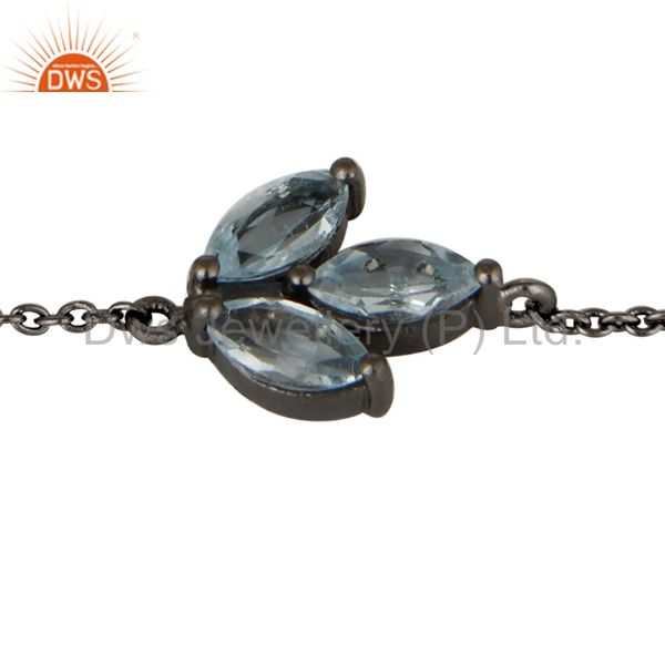 Exporter Oxidized Sterling Silver Blue Topaz Gemstone Cable Link Chain Bracelet
