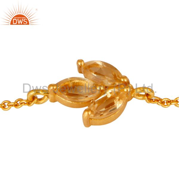 Exporter 18K Yellow Gold Plated Sterling Silver Citrine Gemstone Chain Bracelet