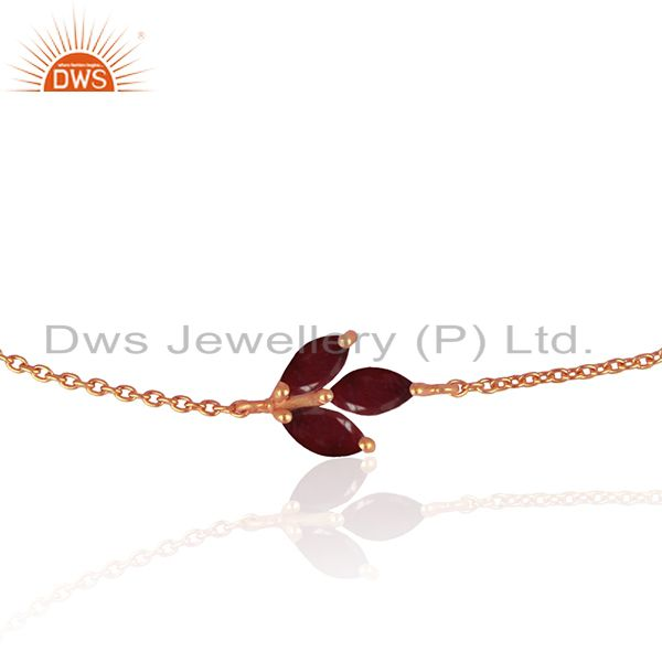 Exporter Ruby Corundum Gemstone Rose Gold Plated 925 Silver Chain Bracelet Wholesale