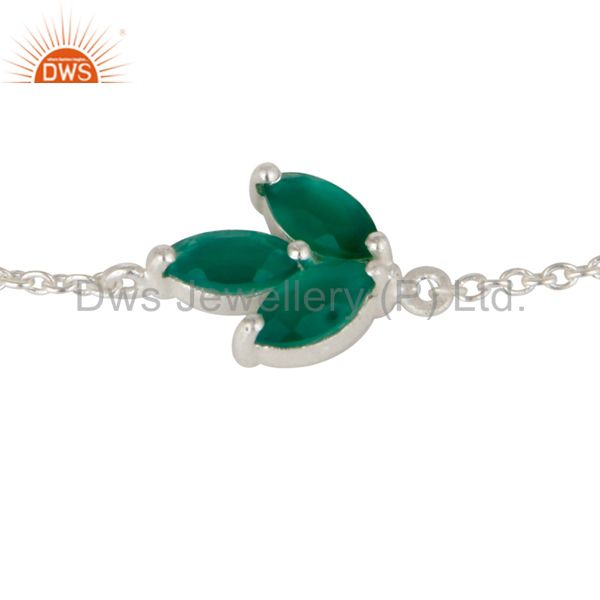 Exporter Solid 925 Sterling Silver Green Onyx Gemstone Chain Bracelet With Lobster Lock