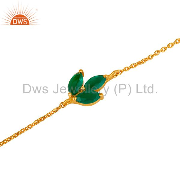 Exporter 22K Gold Plated 925 Silver Green Onyx Gemstone Chain Bracelet With Lobster Lock