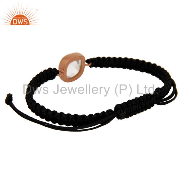 Exporter 18K Rose Gold Plated Sterling Silver Crystal Quartz Black Cord Macrame Bracelet