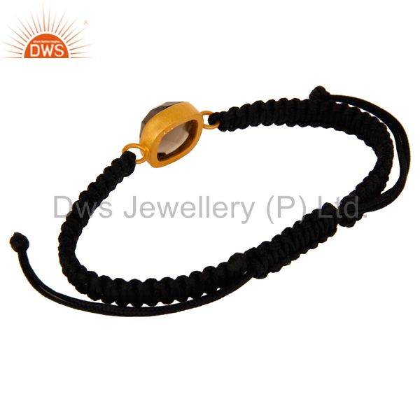 Exporter 22K Yellow Gold Plated Sterling Silver Smoky Quartz Black Cord Macrame Bracelet